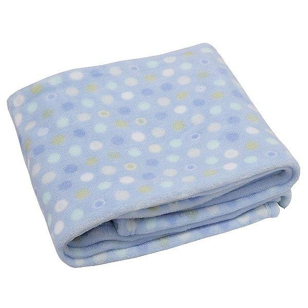 Cobertor Baby Flannel Menino 300g/m² - Bolinhas - Camesa