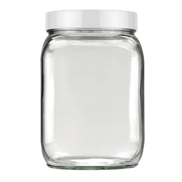 Pote Quadrado com Tampa Rosqueável 1,3  - Branca - Invicta
