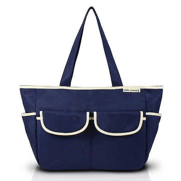 Bolsa de Bebê e Trocador Mama & Me - Azul Marinho e Marfim - Jacki Desing
