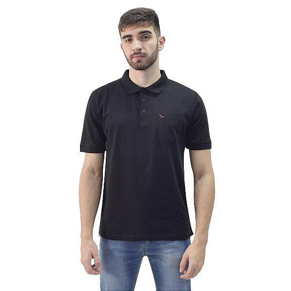 Camiseta Polo Básica com Bolso Masculina  - Preto - Yacht Master