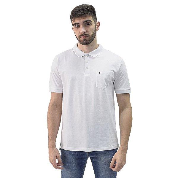 Camiseta Polo Básica com Bolso Masculina - Branco - Yacht Master
