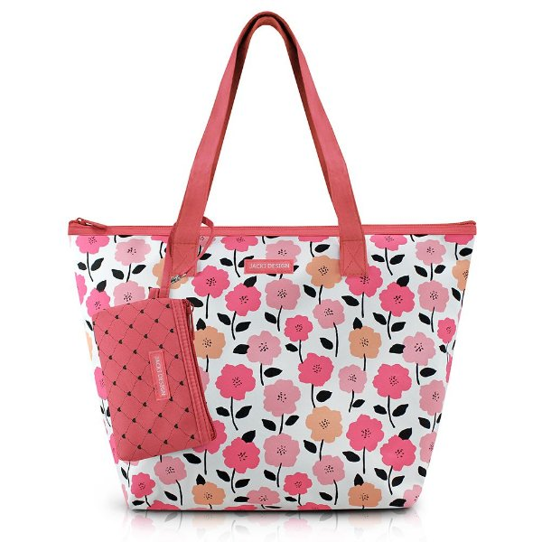 Bolsa com Niqueleira -  Pink Love - Salmão - Jacki Design