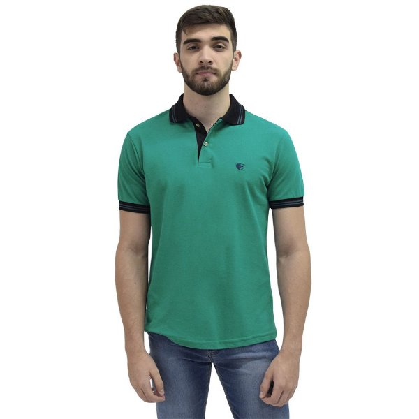 Camisa Polo Masculina Piquet Gola Contraste - Verde - Wayna