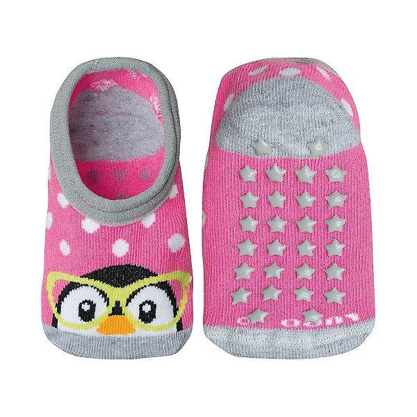 Meia Baby Antiderrapante Pinguim - Rosa - Lupo