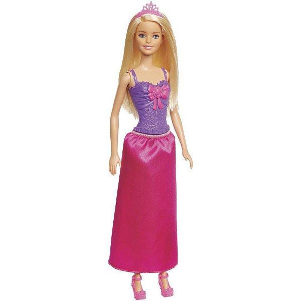 Boneca Barbie Princesa Básica Loira - Roxo e Rosa- Mattel