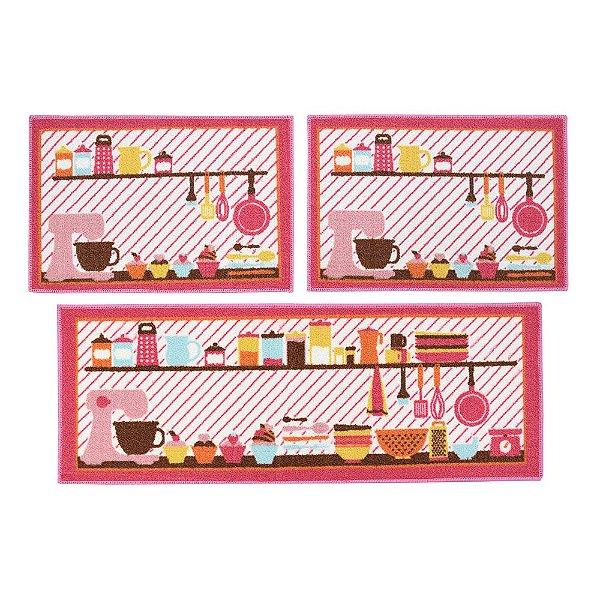 Kit Tapetes Para Cozinha - 3 Peças - Doceria - Camesa