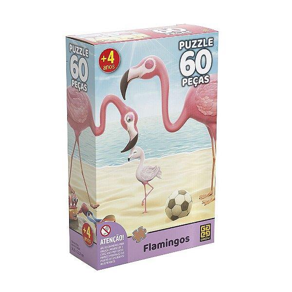 Quebra Cabeça - Flamingos - 60 Peças - Grow