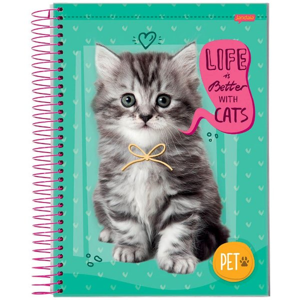 Caderno Pet - 1 matéria - Gatinho - Jandaia