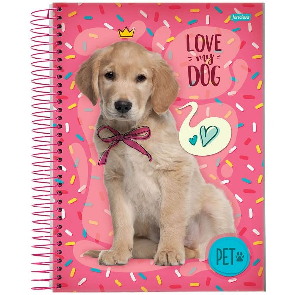 Caderno Pet - 1 matéria - Golden Retriever - Jandaia