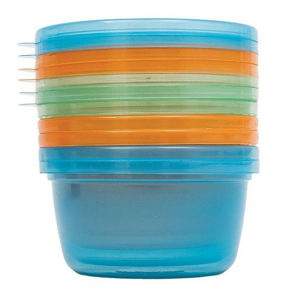 Kit de Potes Para Papinha 250 ml - Azul, Laranja e Verde - 6 Peças - Buba
