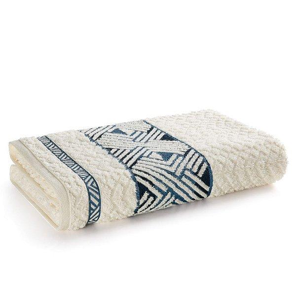 Toalha de Banho Fio Penteado Norman - Ivory/Azul - Karsten
