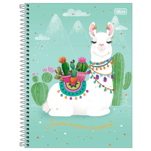 Caderno Hello! - Lhama Find the Beauty - 16 Matérias - Tilibra
