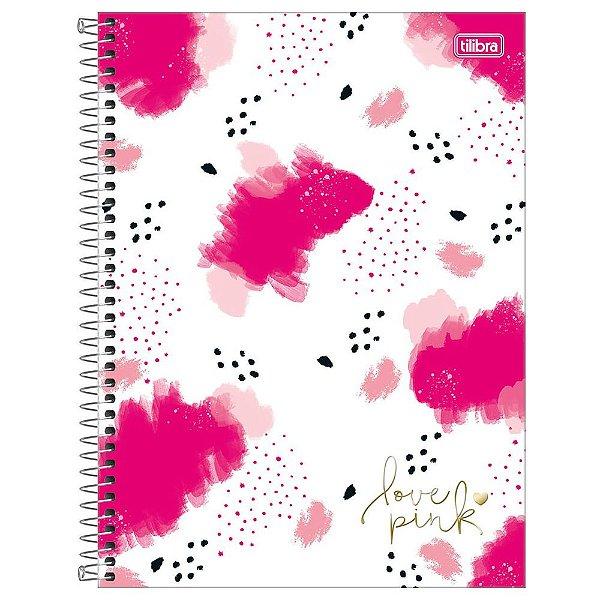 Caderno Love Pink Aquarela - 1 Matéria - Tilibra