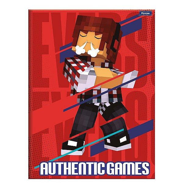 Caderno Brochura Authentic Games Vermelho - 80 Folhas - Foroni