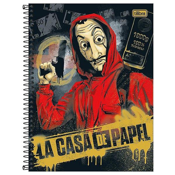 Caderno La Casa de Papel - Ouro - 80 folhas - Tilibra