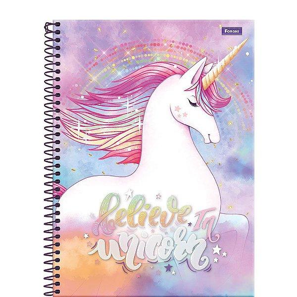 Caderno Unicórnio - Believe in Unicorn - 200 Folhas - Foroni