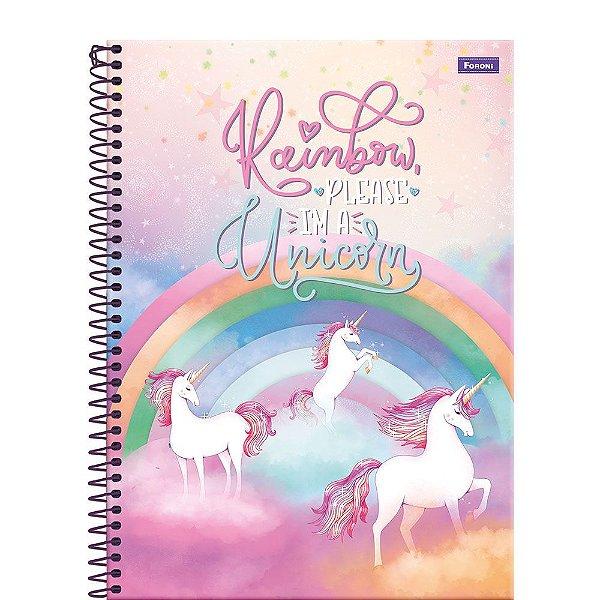 Caderno Unicórnio - Rainbow - 96 Folhas - Foroni