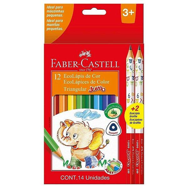Lápis de Cor Jumbo Longo - 12 cores - Faber Castell