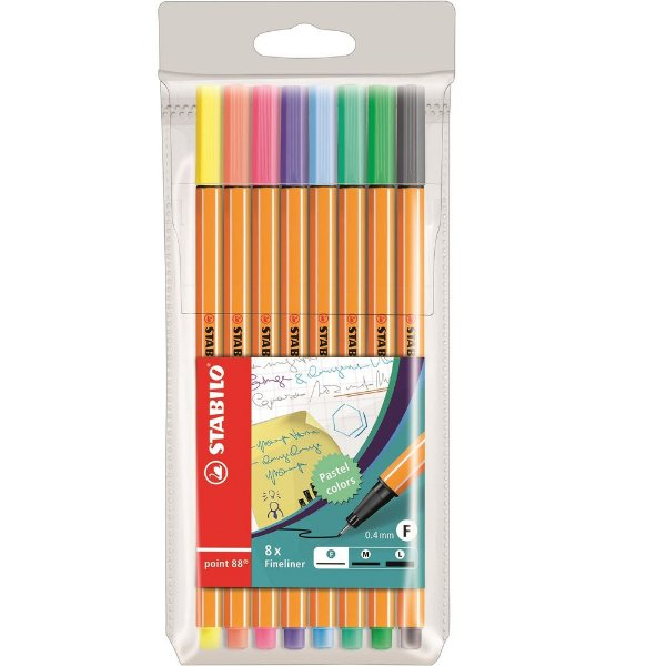 Conjunto Caneta Fineliner Point 88 Pastel + Estojo - 8 cores - Stabilo