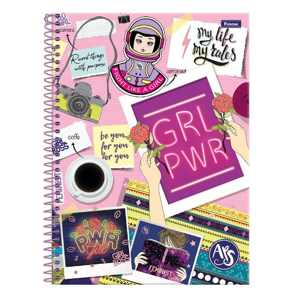 Caderno Amigas Teen - Girl Power - 96 folhas - Foroni
