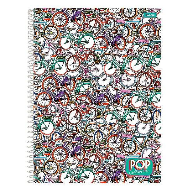 Caderno Pop Collection - Bicicletas - 96 folhas - Foroni