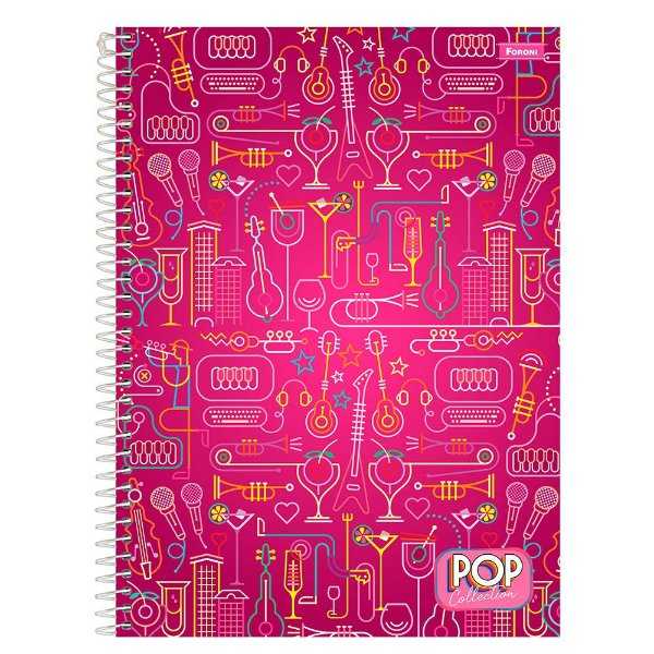Caderno Pop Collection - Music - 96 folhas - Foroni