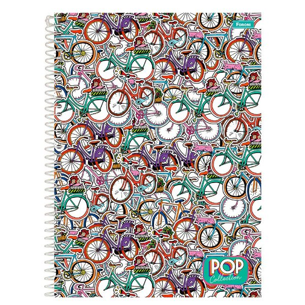 Caderno Pop Collection - Bicicletas - 200 folhas - Foroni