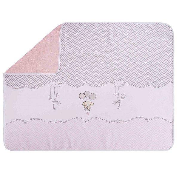 Manta Baby Fleece Cachorrinho Branco/Rosa - Colibri