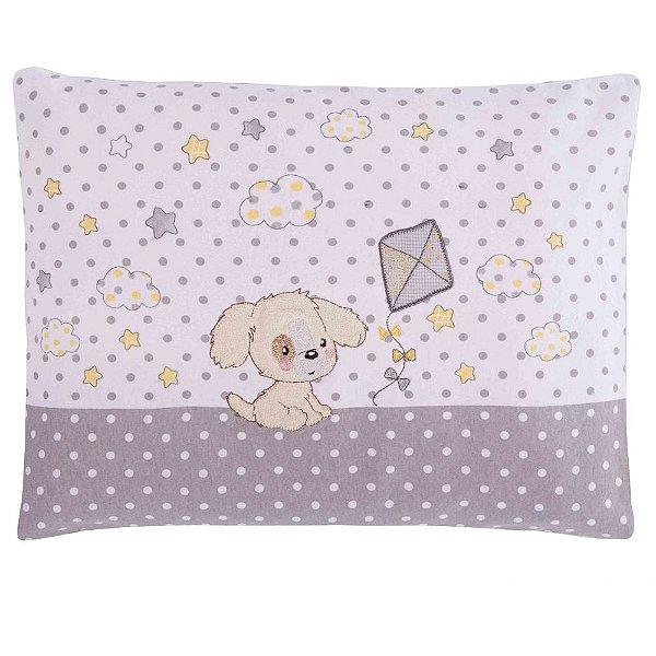 Travesseiro de Malha Bordado Cachorrinho Amarelo - Colibri