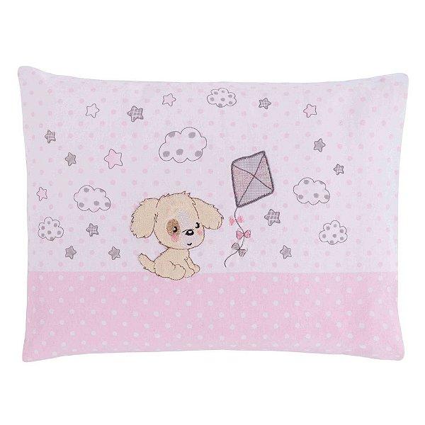 Travesseiro de Malha Bordado Cachorrinho Rosa - Colibri