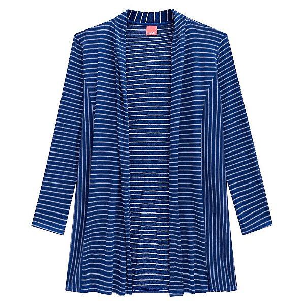 Cardigã Alongado Azul Plus Size Wee - Malwee