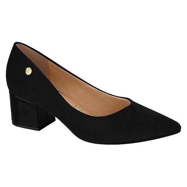 Sapato Salto Baixo Camurça Preto - Vizzano