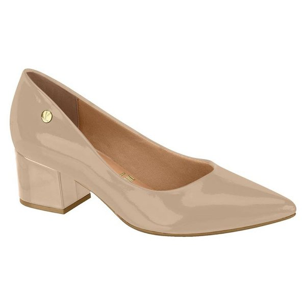 Sapato Salto Baixo Verniz Bege - Vizzano