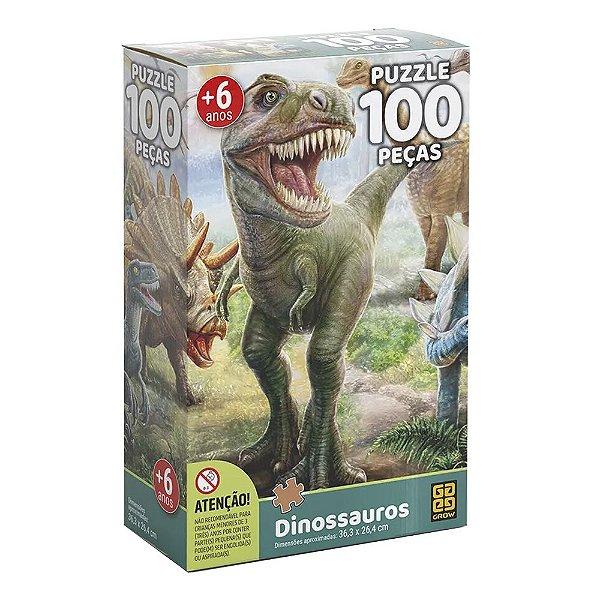 Quebra Cabeça Dinossauros - 100 Peças - Grow