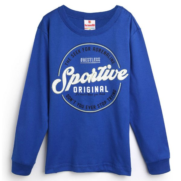 Camiseta Manga Longa Sportive Azul - Brandili