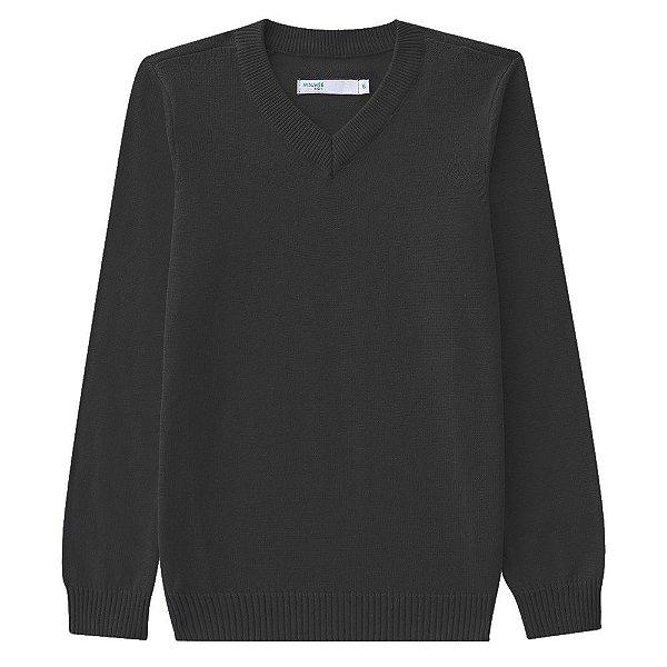 Suéter em Tricô Gola V - Preto - Malwee