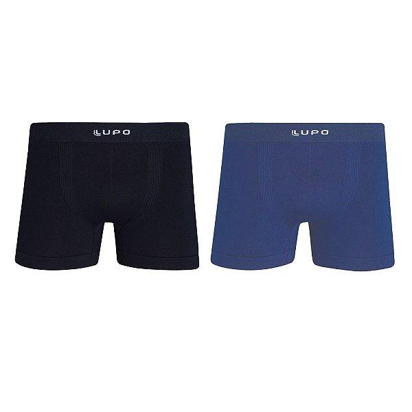 Kit Cueca Boxer sem Costura - Azul e Preto - Lupo