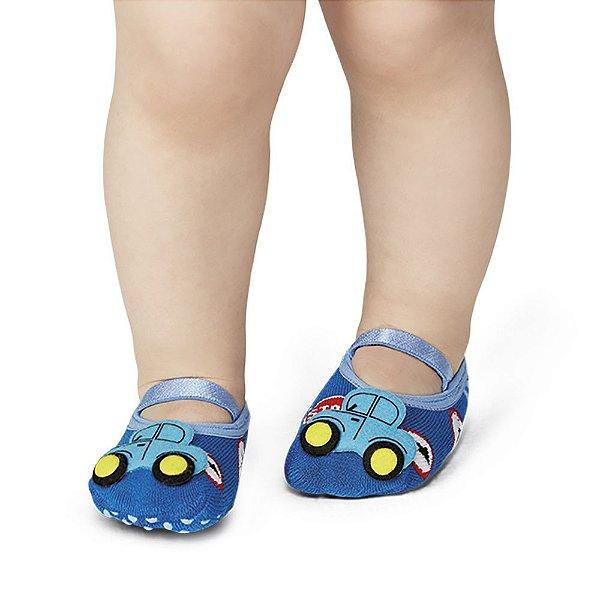 Meia Baby Antiderrapante Carrinho - Azul - Lupo