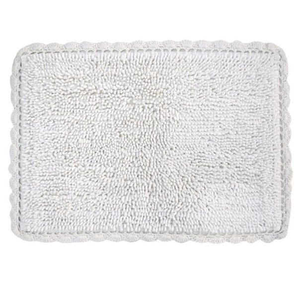 Tapete Croche Bolinhas 45 x 65cm - Branco - Kacyumara
