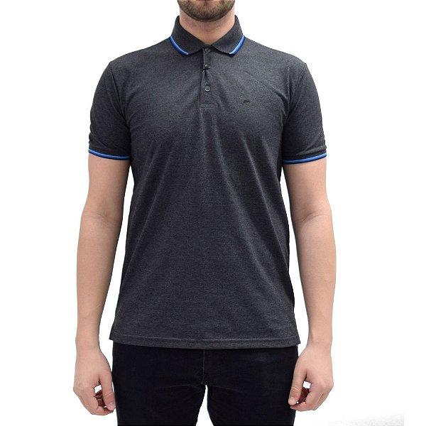 Camisa Polo Básica - Cinza/Azul - Ellus
