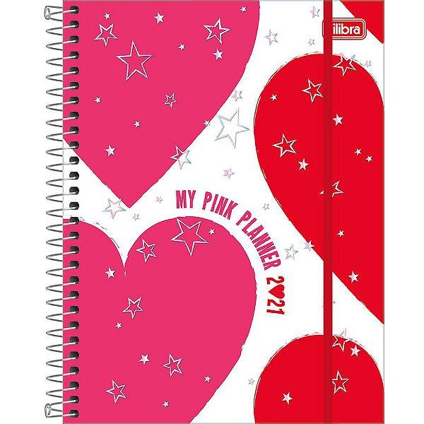 Agenda Planner Pink - 2021 - Corações - Tilibra