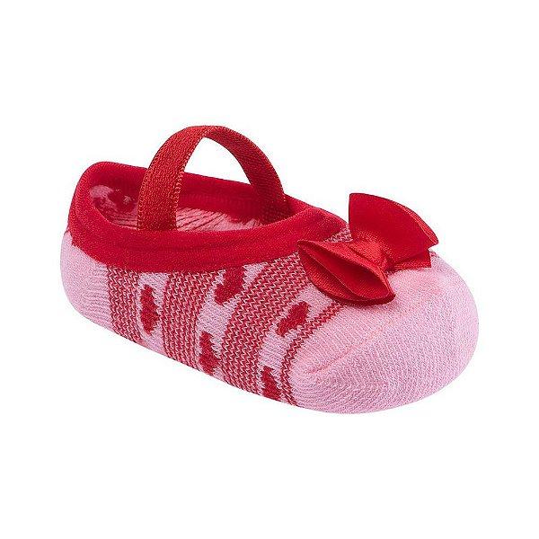 Meia Sapatilha com Laço - Vermelho/Rosa - Pimpolho