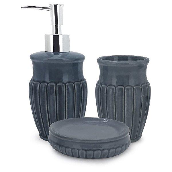 Conjunto para Banheiro Marine Blue - 3 Peças - Mimo Style