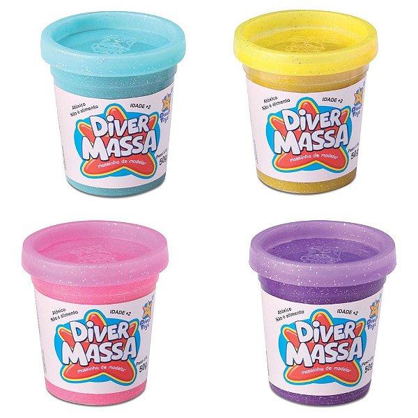 Kit de Potes de Massinha Com Gliter - 4 unidades - Divertoys