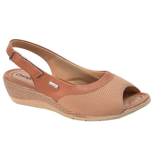 Sandália Salto Baixo Caramelo - Comfortflex