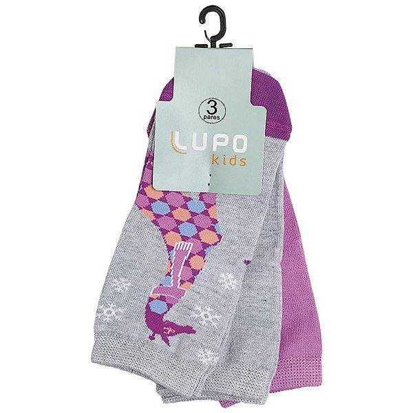 Kit Meia Infantil Feminina Girafa - 3 Pares - Lupo
