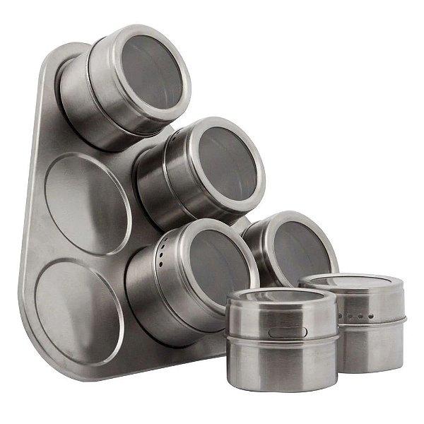 Jogo De Porta Condimentos Magnético Com Suporte - 6 Potes - Mimo Style