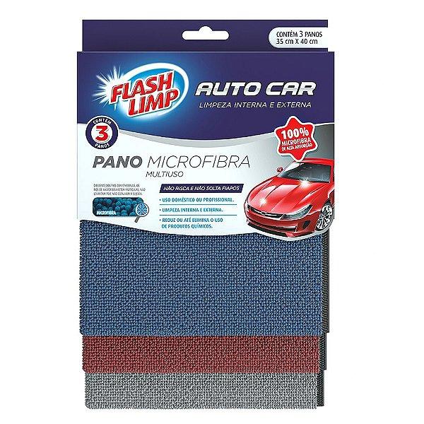 Pano Microfibra Multiuso Auto Car - 3 peças - Flash Limp