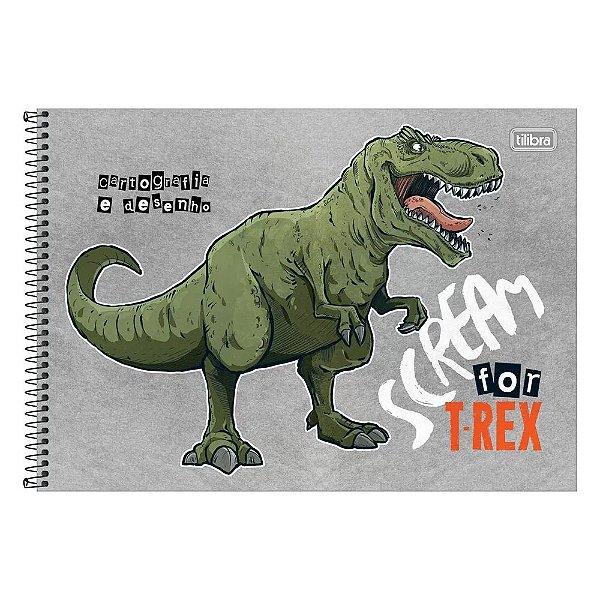Caderno de Cartografia e Desenho Raptor - Dinossauro Capa Cinza -Tlibra