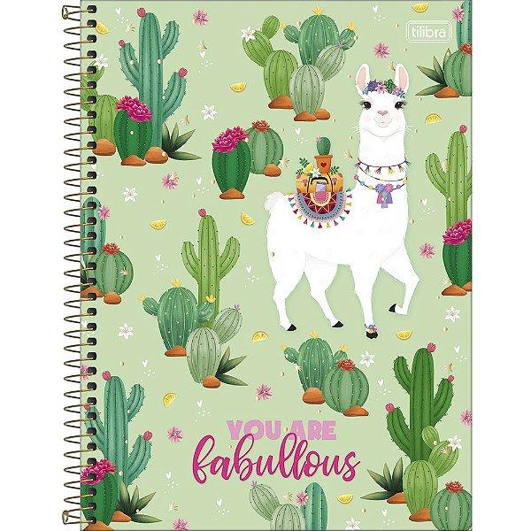 Caderno Hello Lhama Fabullous - 80 Folhas - Tilibra
